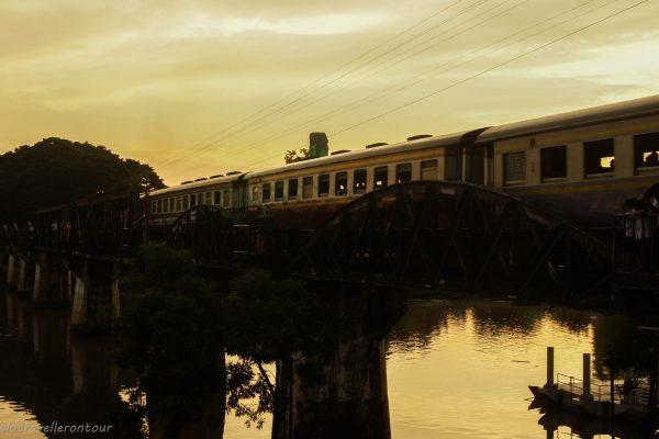 Train crossing the bridge of the river Kwai