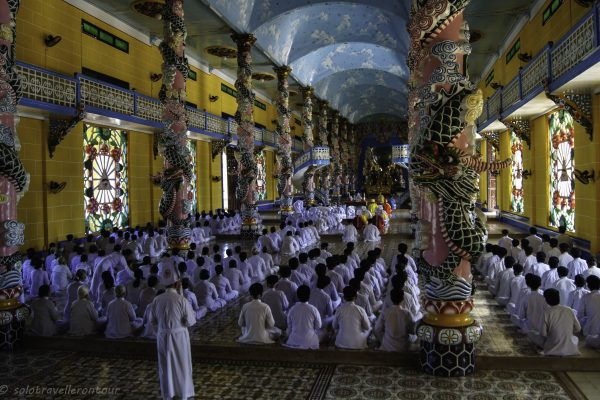 The colourful inside of the temple