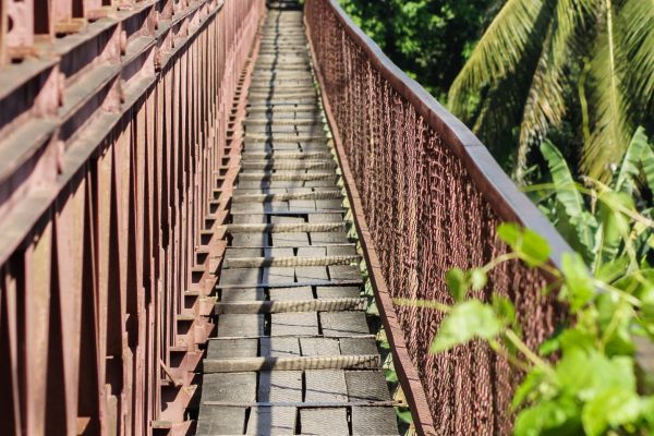 Crossing the bridge on foot is not for the faint hearted