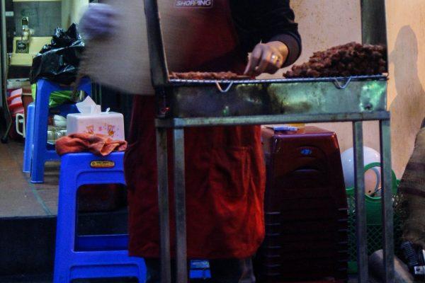 Selling little barbequed pork skewer