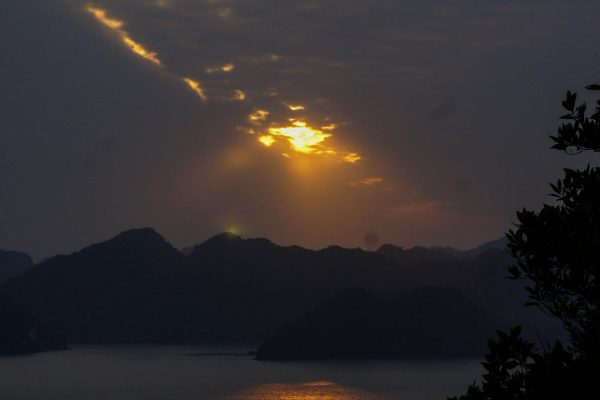 Sunset over Halong Bay