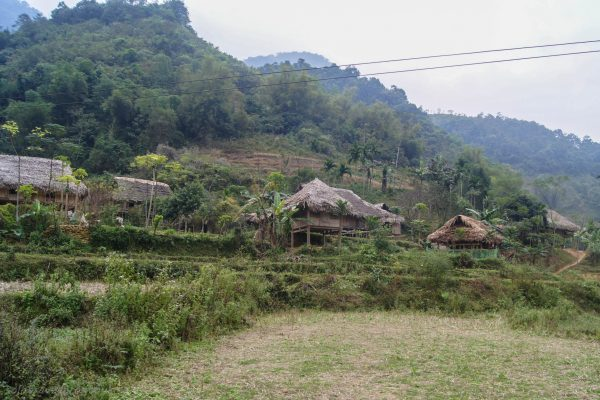 The little village with the two homestay buildings in the middle