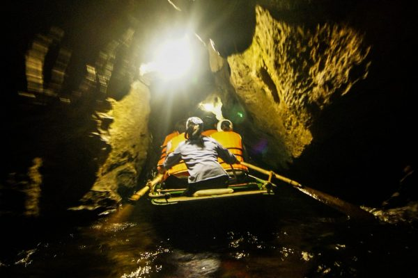 Rowing through the little caves