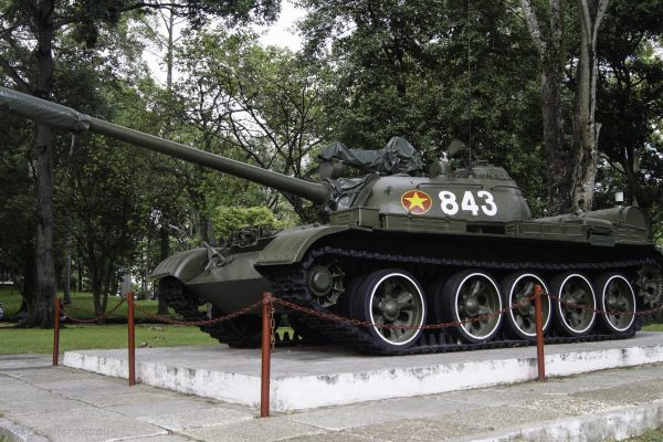 The tank that broke through the gate during the war