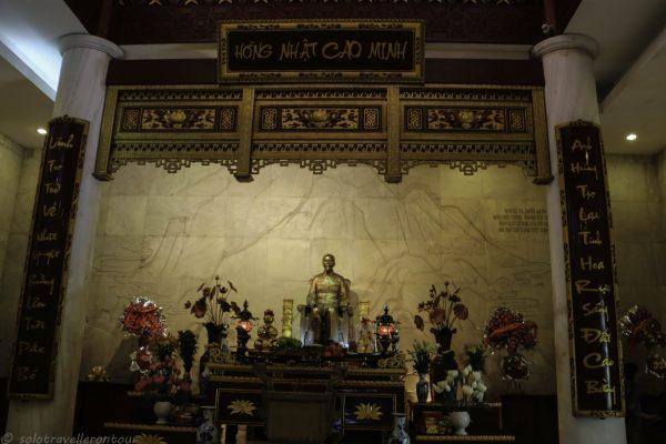 Inside the pagoda at Pak Bo