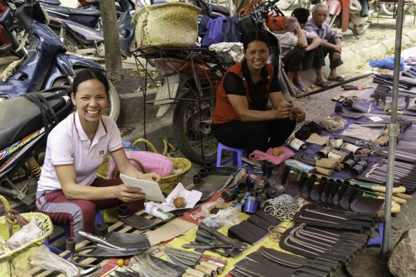 Sales women enjoying the food