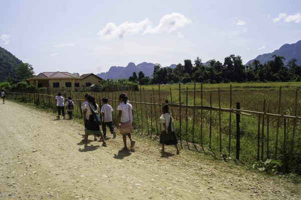 Kids going to the nearest school