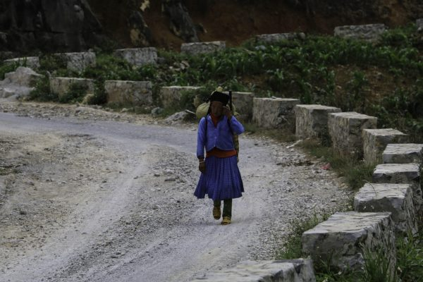 A local woman already on her way to Meo Vac for the market