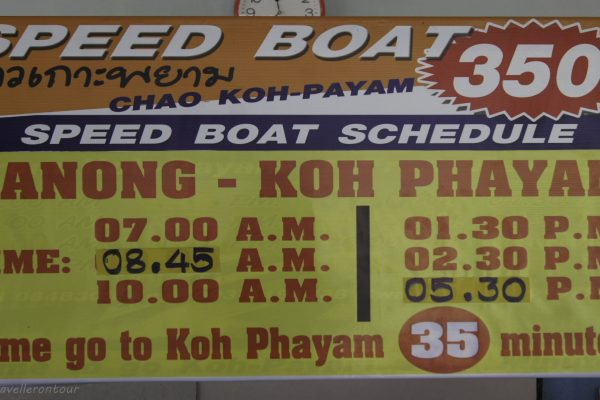 Timetable for the speed boat