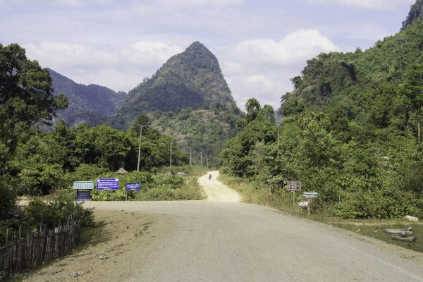 Last turn before the Buddha cave. The road ahead leads to another cave 18km away