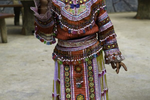 A girl with her tradional cloth - she was very proud of her colourful dress
