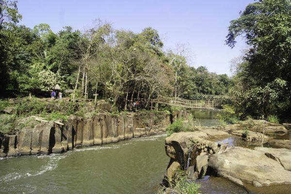 Bamboo bridge and seating area