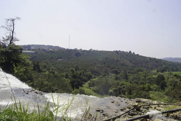 View over the area from the edge of the waterfall