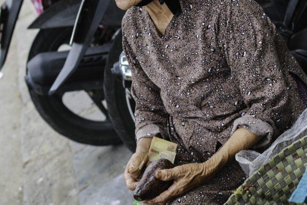 A local selling fresh potatoes