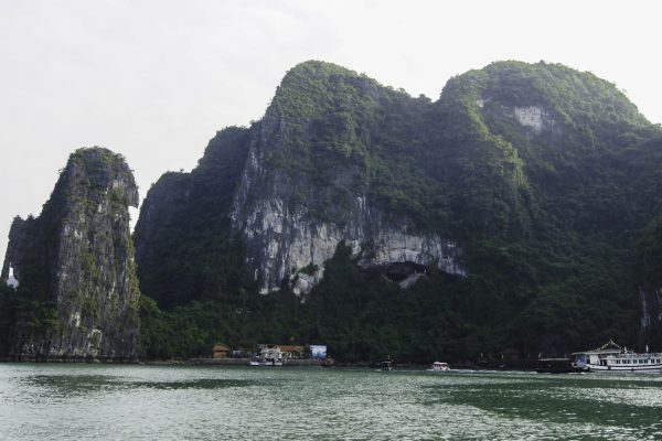 The island of Sung Sot cave - the entrance clearly visible