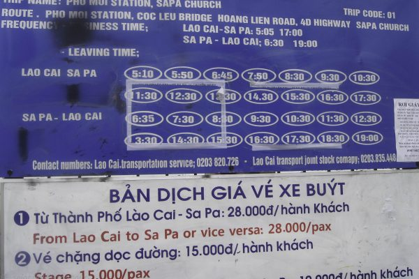 Timetable for the local bus between Lao Cai & Sapa