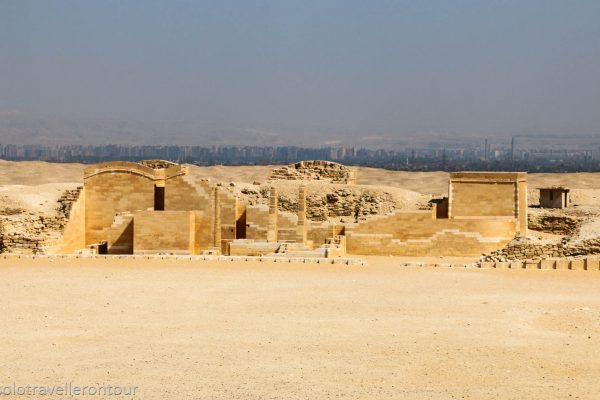 Other remains of the funeral complex with Cairo in the background