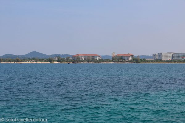 Passing one of the large resorts on the island