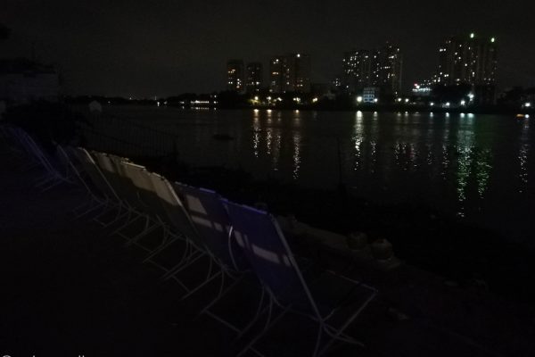 Comfortable chairs next to the river