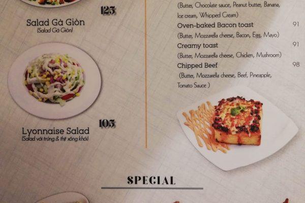 Part of the food menu